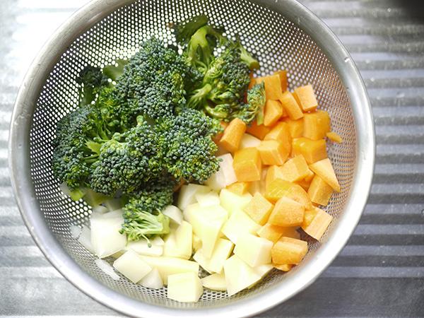 ありあわせクラウチャウダー野菜の切り方